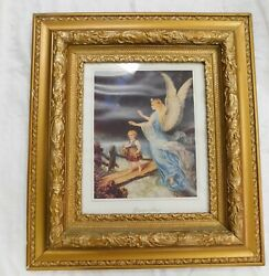 Antique Picture Frame Wood Gesso Gold Ornate 27 X 24 Outside 16 X 13 Inside