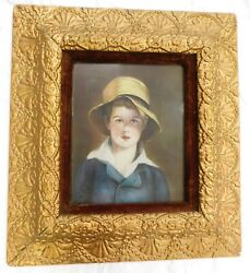 Antique Picture Frame Wood Gesso Gold Ornate 21x19 Boy Print
