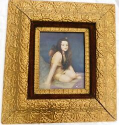 Antique Picture Frame Wood Gesso Gold Ornate 21x19 Girl Print