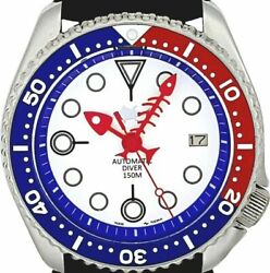 Very Rare Tuna 6309-7290 Seiko Modded Pearl White / Red Hands 🚚 Fast And Free