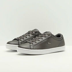 Lacoste Womens Straightset Court Sneakers Silver Liquid