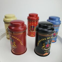 Lot Of 5 Vintage Jackson Of Piccadilly Empty Tea Cannister Tins 4 With Lids