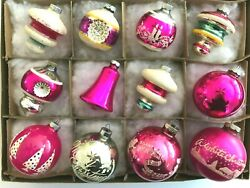 12 Vintage Shiny Brite Pink Xmas Ornaments Silvered And Unsilvered Shapes Usa