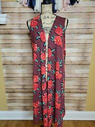 Xs Lularoe Joy- Red And Black Floral/houndstooth Pattern