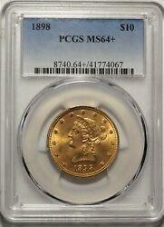 1898 10 Pcgs Ms 64+ Near Gem Plus Uncirculated Unc Liberty Gold Eagle Type Coin