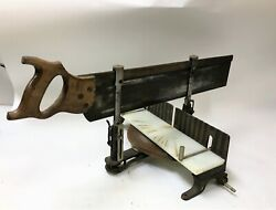 Vintage Stanley Miter Box 2246 And Saw Carpentry Woodworking Complete Nice