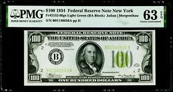 100 1934 Federal Reserve Note New York Light Green Seal Pmg 63 Epq Choice Unc