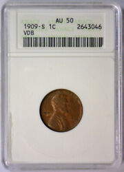 1909 S Vdb Lincoln Cent Key Date Penny Small Anacs Au50 Au 50