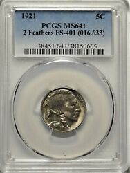 2 Feathers 1921 5c Pcgs Ms 64+ Pq Gem Uncirculated Fs-401 Buffalo Nickel Coin