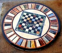 48 Inches Multi Stone Work Dining Table Top Check Pattern Patio Sofa Table Top