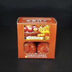 Yankee Candle Fall Festival Scented Tea Light Candles Apple Pumpkin Box of 12
