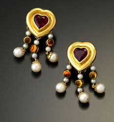 Bold Pink Tourmaline Citrine And Pearl Heart Chandelier Earrings