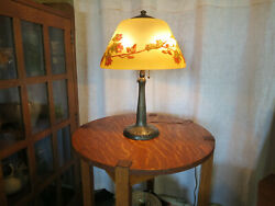 Antique Handel Table Lamp Signed/numbered Reverse Painted Shade Arts And Crafts