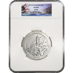 2012-p 5 Oz Silver Atb ✪ Acadia Np ✪ 25c Ngc Sp-69 Satin Finish Me ◢trusted◣