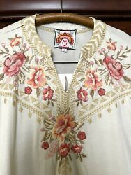 Xl Nwt Johnny Was Tunic Top Embroidered Peach Roses Sand Elbow Sleeves