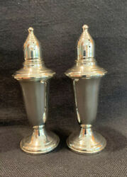 Empire Sterling Silver Pair Of Salt Pepper Shakers Weighted Glass Lined 241