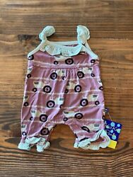 New Kickee Pants 0-3 Months Raisin Tractor And Grass Print Wing Romper