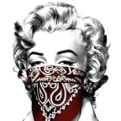 Mr Brainwash Stay Safe Print Red Signed Numbered Limited Marilyn Monroe Bandana