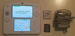 Nintendo 2ds Red And White Console With Charger Stylus Sd Card And Game Tested