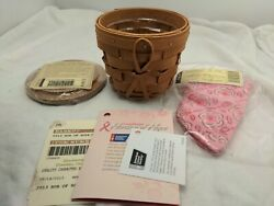 Longaberger 2013 Horizon Of Hope Warm Brown Basket W/ Lid, Liner And Protector New