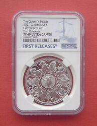 Uk 2021 The Queen's Beasts Completer 2 Pounds Silver Proof Coin Ngc Pf69uc