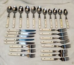 Vintage Stainless Flatware Taiwan Set White Riveted 27 Pc Set Off White Cream