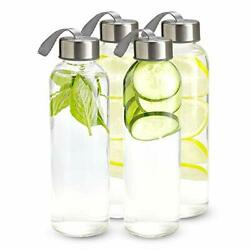 16 Ounce Glass Water Bottles, Water Bottles With Airtight, Pack Of Stainless 4