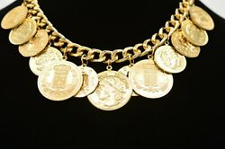 True Vintage 80s Collar Necklace Gold Coin Charms Cuban Chain France Chunky Bin7