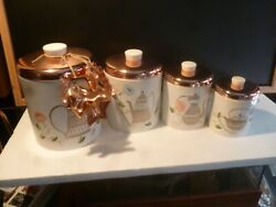 Complete Ransburg Kitchen Tin Canister Copper Tops Retro 50's Set Of 4, Plus...