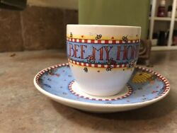 Mary Engelbreit Teacup And Saucer--rare Bee My Honey Colorful Bees And Flowers