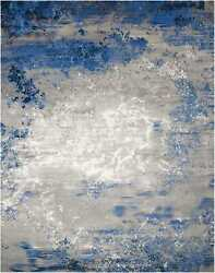 Nourison Twilight Blue And Grey Rectangle Area Rug 7and0399 X 9and0399
