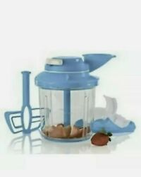 New Tupperware Power Chef System Food Processor Chopper Mix Chop Whisk Blue