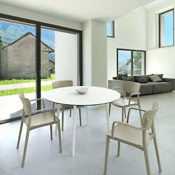 Siesta Lisa Round Dining Set With 47 Inch Table And Armcairs Isp6751s-whi-dvr