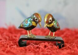 Pair Of Vintage Chinese Cloisonné Miniature Woodpecker Figurines With Stand