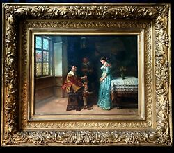 Antique Oil On Wood Andlsquodatingandrsquo Created In 19 Century Framed Signed 29in X 25in
