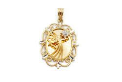 10k Yellow Gold Diamond I Will Always Be By Your Side Guardian Angel Pendant