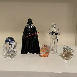 Star Wars Lot Of Crystal Figures With Box Bb-8 Child R2-d2 Darth Vader