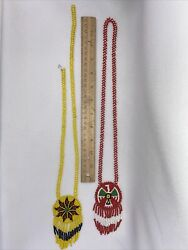 Vintage 2 Native American Style Beaded Necklaces 1 Needs Repair