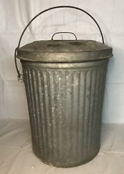 Antique Vintage Canco Galvanized Trash Can Garbage Can W/ Lid Handle Industrial