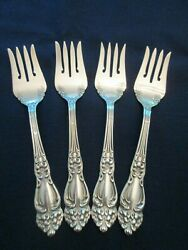 Set 4 Individual Salad Forks Vintage Reed And Barton Silverplate Tiger Lily Exc