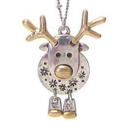 Rudolph Reindeer Pendant Necklace Silver New