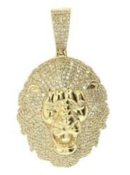 10k Yellow Gold Lion Head Pendant With 1.65ctw