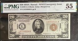 1934-a 20 Fed Res Note Hawaii Ww Ii Emergency Issue Pmg About Uncirculated 55