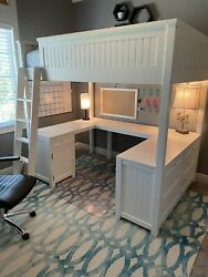 Pottery Barn Teen Beadboard Loft Bed With Desk And 6 Drawer Dresser White