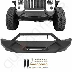 Aggressive Textured Front Bumper With Winch Plate For Jeep Wrangler Jk 2007-2018