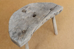Antique Primitive Wooden Wood Chair Milking Stool Seat Bench Three Legged 19th