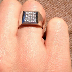 Solid 14k White Gold 0.52 Ct Natural Diamond Menand039s Engagement Ring Size S T U V