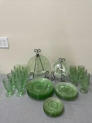 Tiara Indiana Glass Chantilly Green Sandwich 30 Pc Plates And Cups Fs Bnfts Chrty