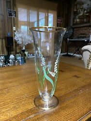 Clear Glass Footed Trumpet Vase With Gold Flowers And Trim, Vintage L10 X 5win