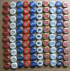 100 Mixed Red White Blue Budweiser Miller Lite Most Obsolete Beer Bottle Caps